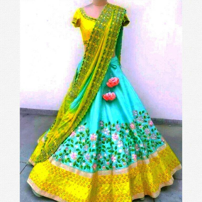 Simple Rama Color Lehenga Choli