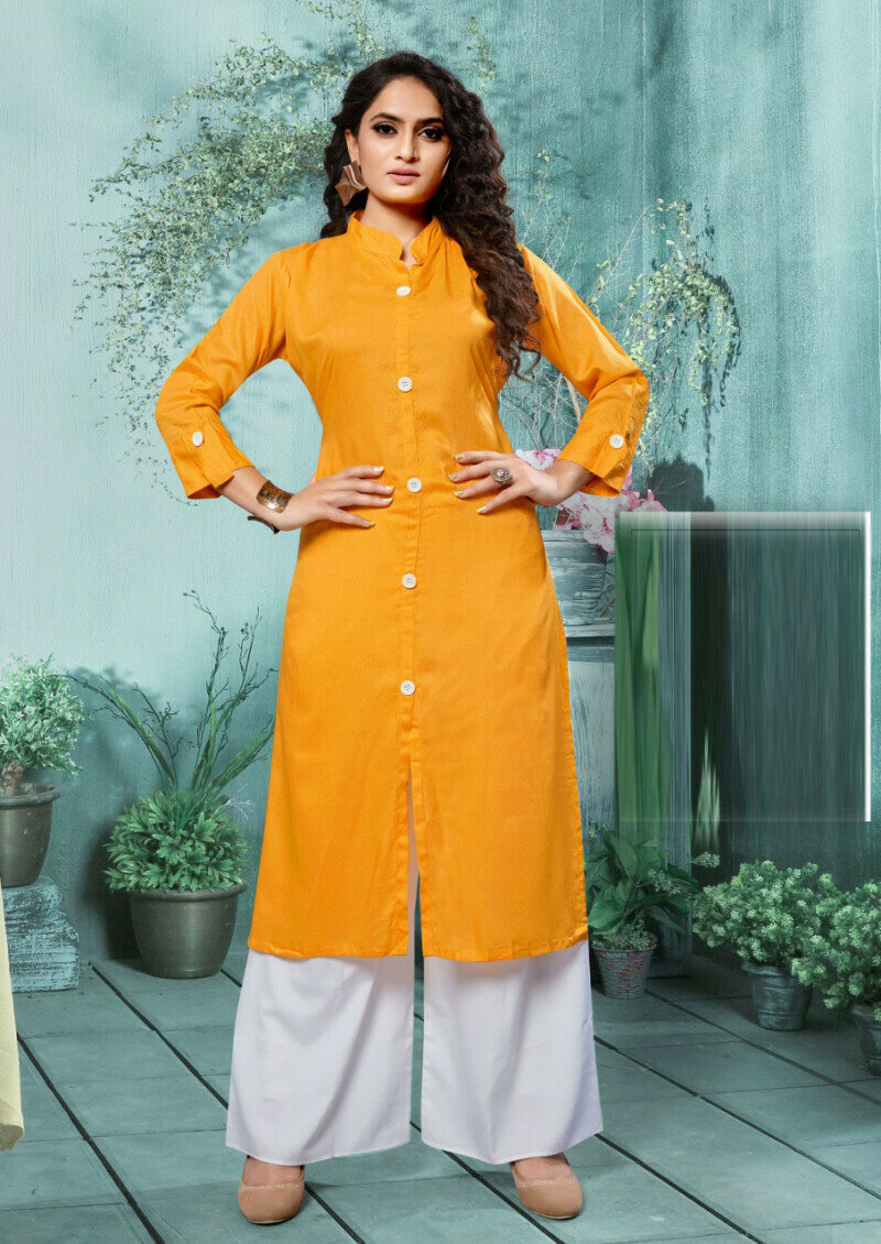 Simple Yellow Rayon Palazzo Suit For Girls
