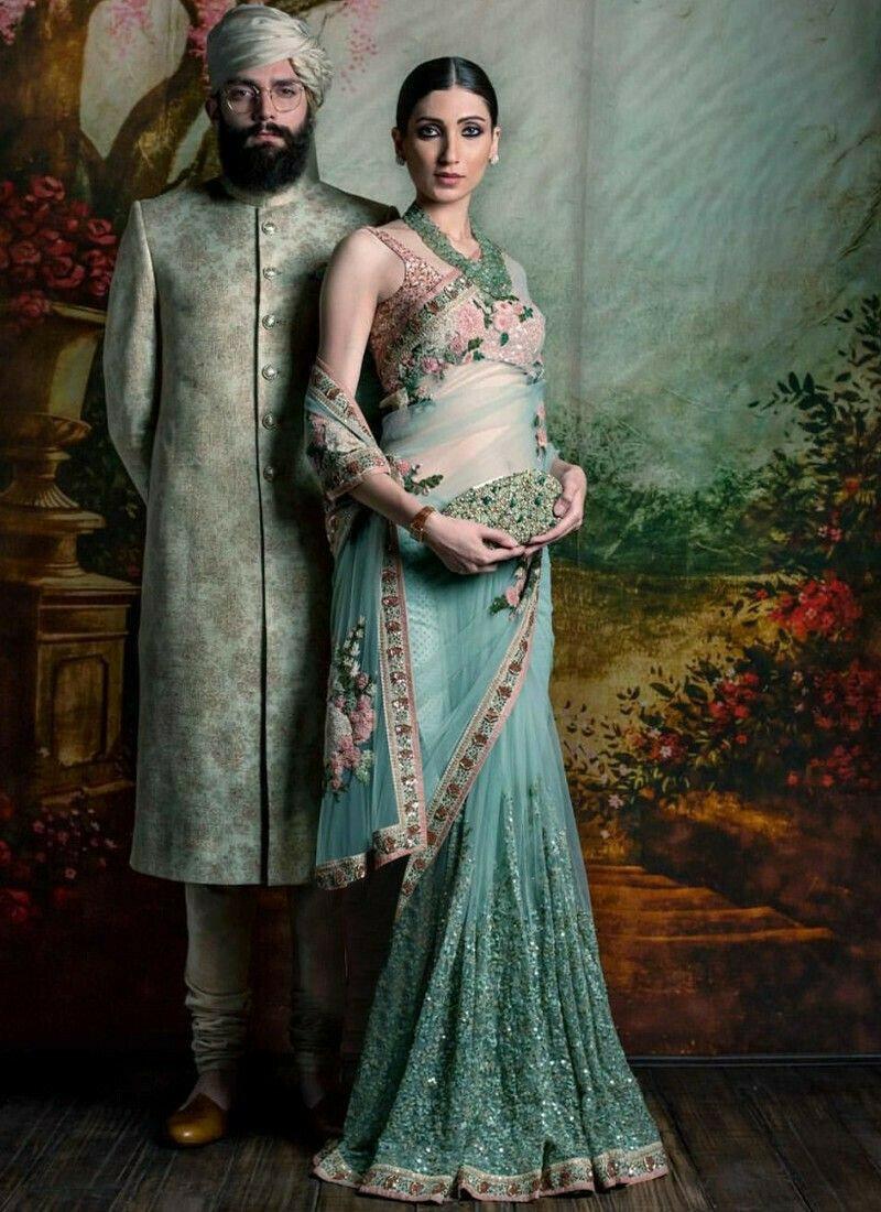 Sky Blue Color Bollywood Style Designer Saree