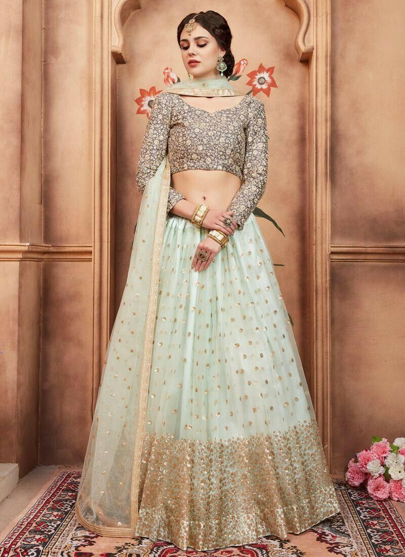 Sky Blue Soft Net Florals Vol 2 Designer Lehenga Choli