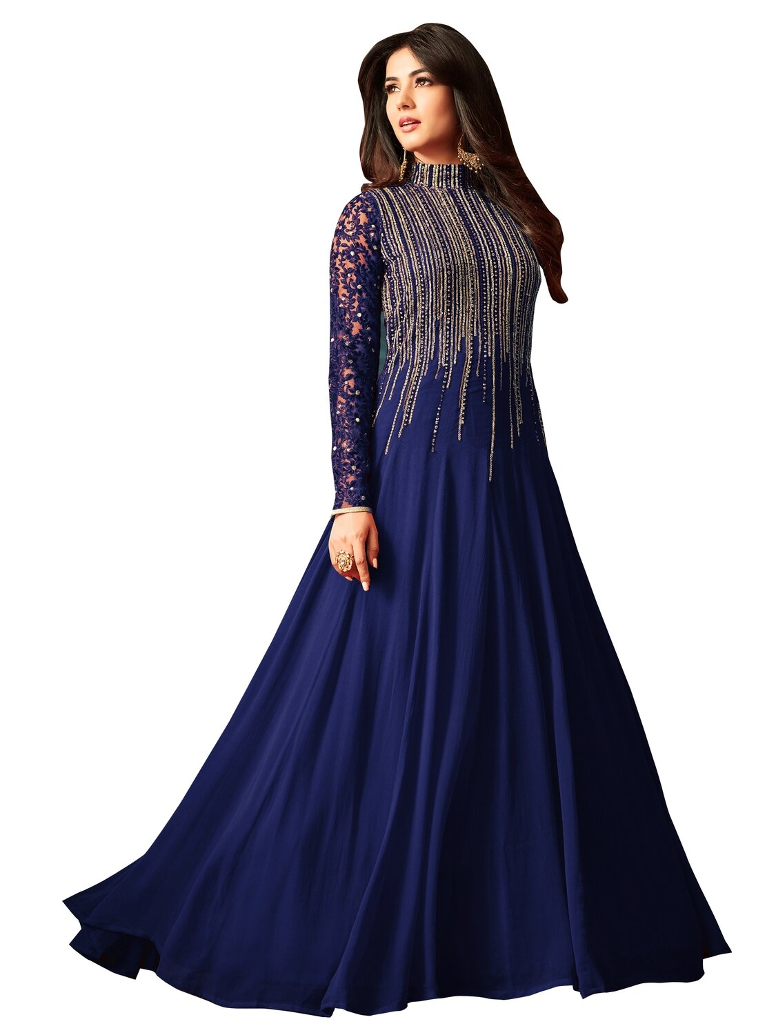 Sonal �Chauhan� Designer Georgette Embroidered Semi Stitched Long Anarkali Suit