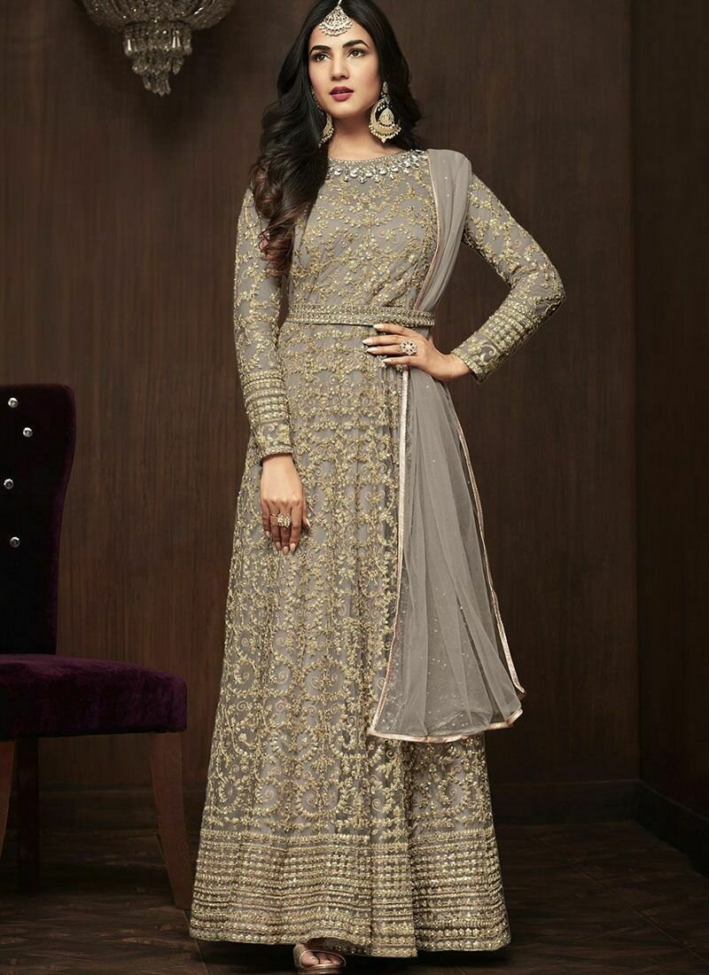 Sonal Chauhan Green Party Wear Embroidery Anarkali Suit Nylon Net