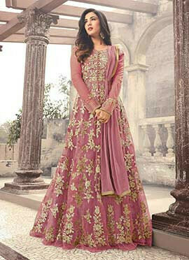 Sonal Chauhan Pink Net Abaya Style Anarkali Suit