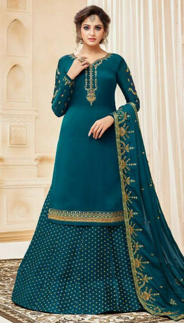 Stunning Blue Colored Party Wear Georgette Sharara Suit