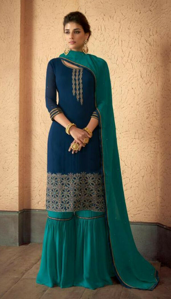 Stunning Blue Colored Reyon Embroidary Work Sharara Suit