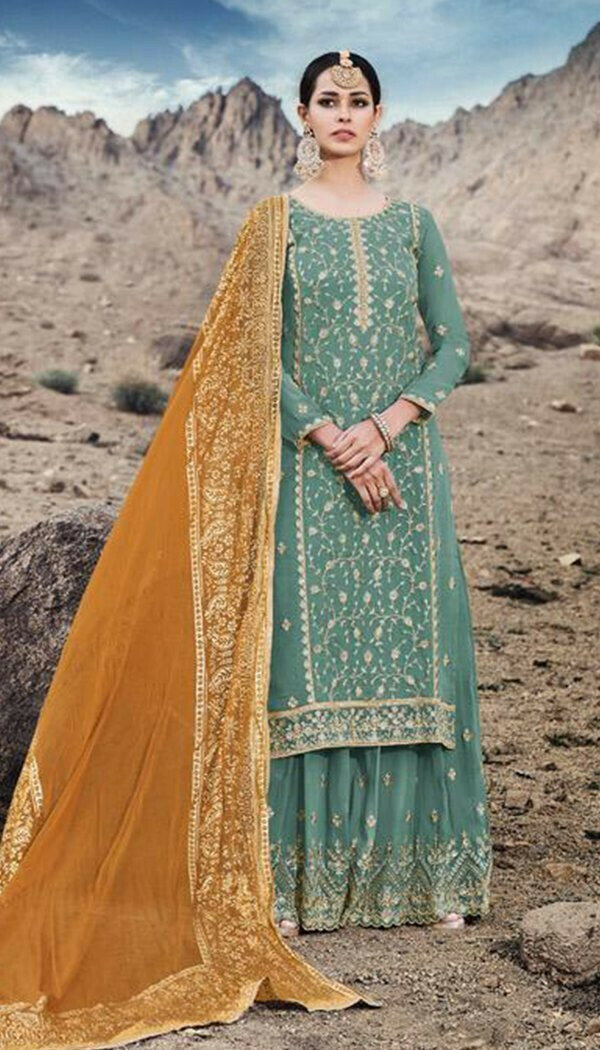 Stunning Brown Colored Georgette Embroidary Work Plazzoo Salwar Suit