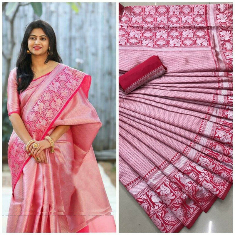 Stunning Pink Colored Party Wear Latest Women's Banarasi Silk Saree With Reach Pallu Border
