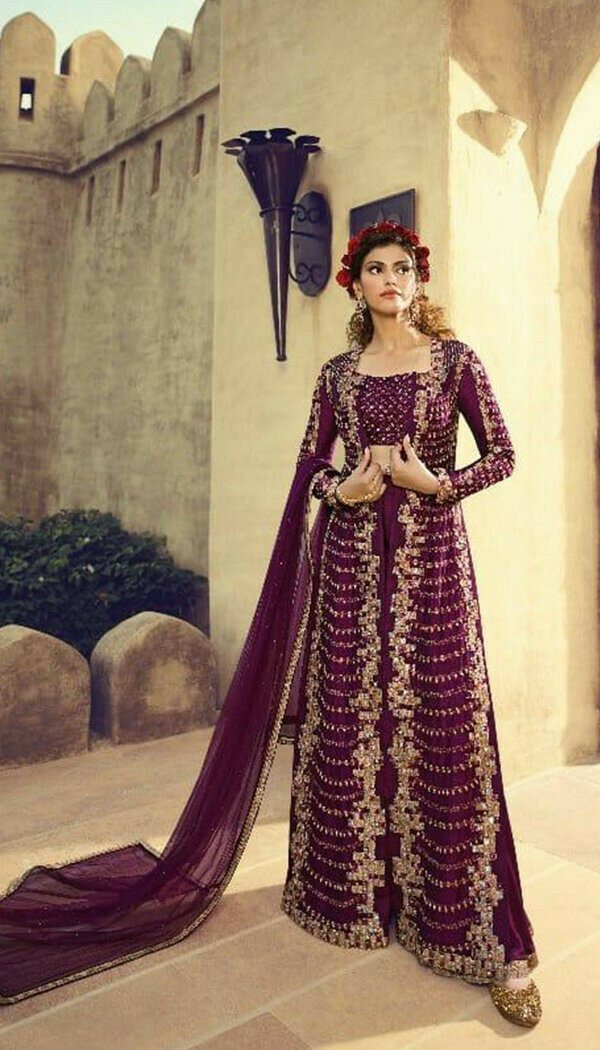 Stunning Purple Colored With Net Embroidary Semi-stitch Western Gown