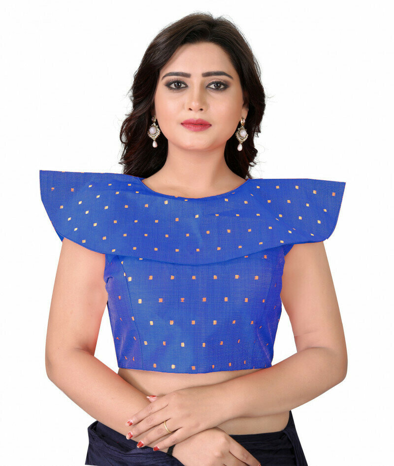 Styles Blue Color Stitched Party Wear Blouse