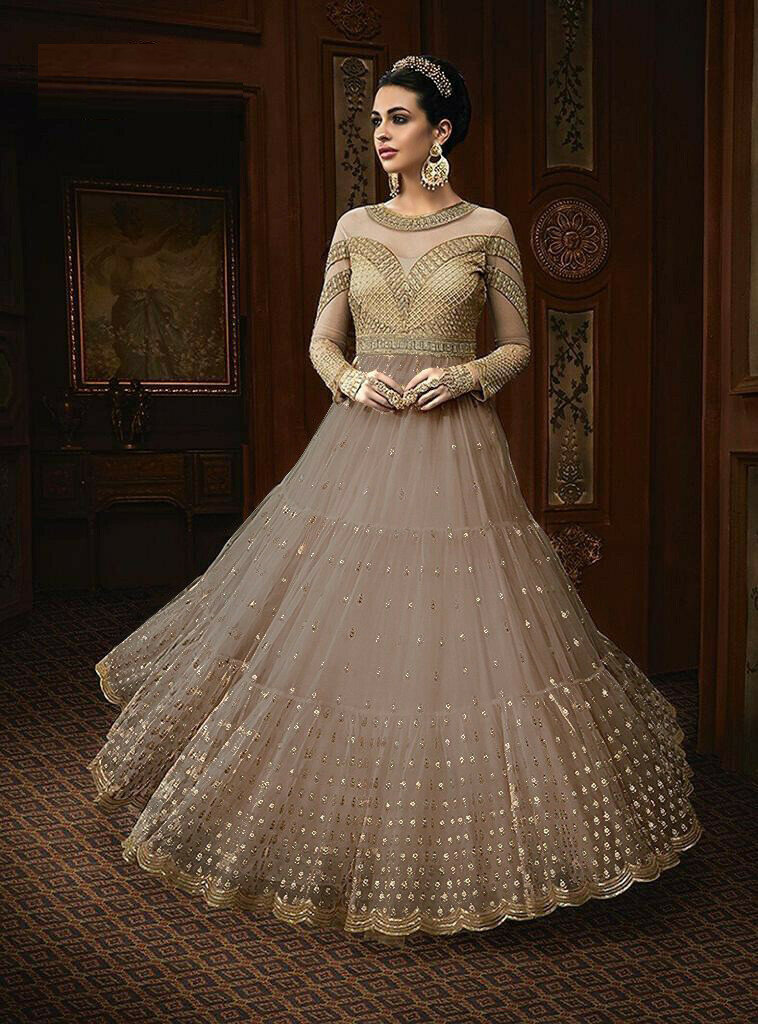 Stylish Beige Color Net With Embroidery Work Party Wear Designer Beautiful Gown