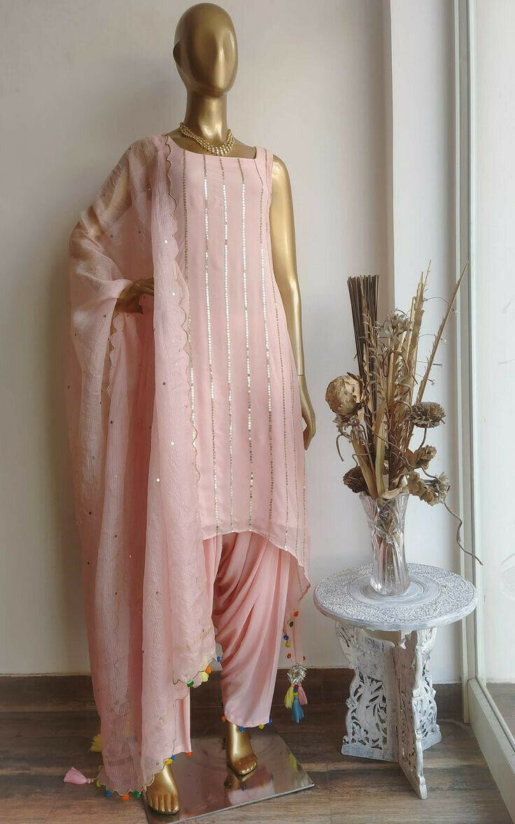 Stylish Light Pink Color Party Wear Sequence Work Top And Dhoti