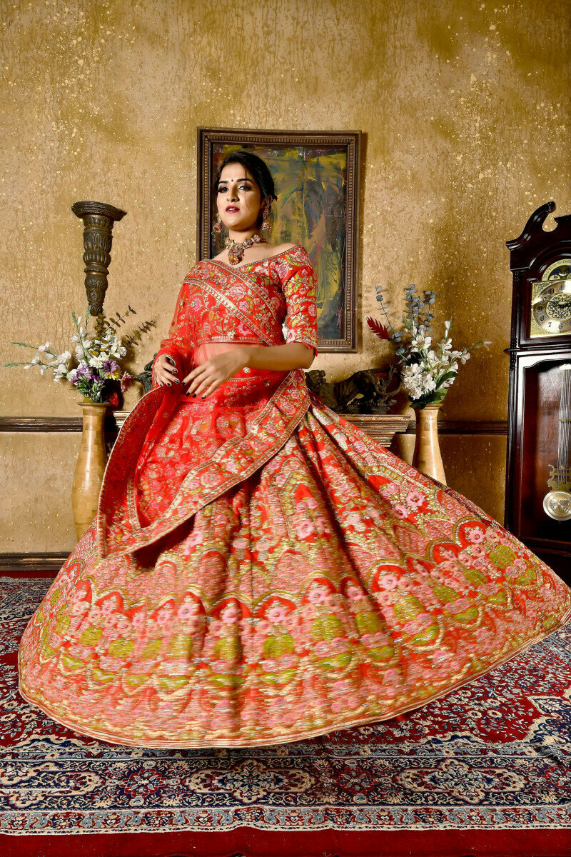 Stylish Most Beautiful Red  Color Bridal Wear Embroidery Work Lehenga Choli