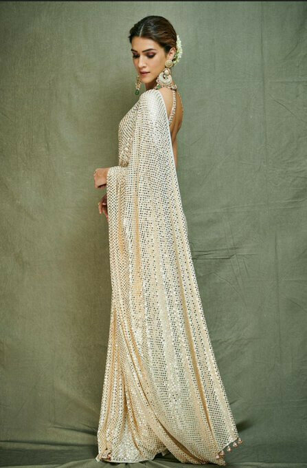 Stylish White Sequence Bollywood Beautiful Saree