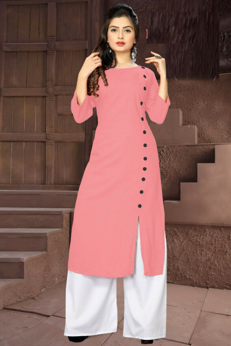Stylist Peach Rayon Palazzo Suit