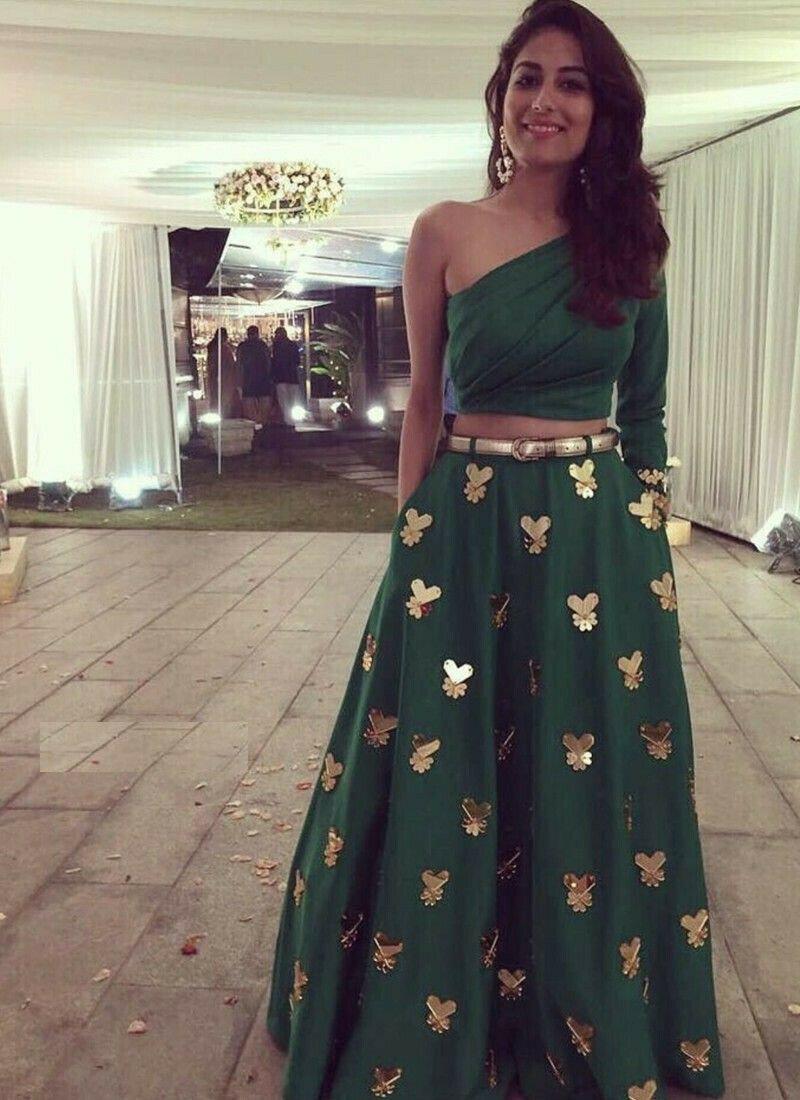 Taffeta Silk Green Classy Lehenga Choli