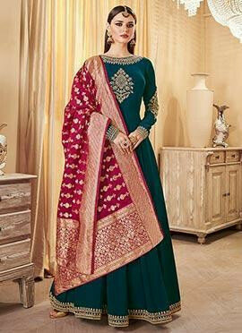 Teal Green Embroidered Abaya Style Anarkali Suit