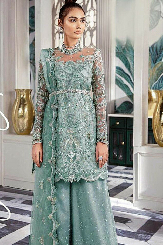 Teal Green Party Wear Sharara Suit Online