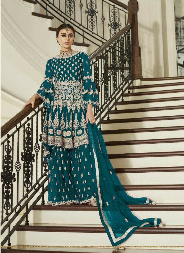 Till Blue Colored Salwar Plazzo Suit With Embroidery Work