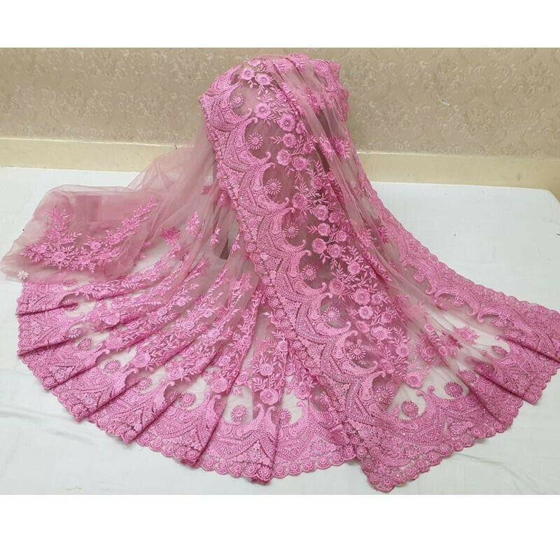 Traditional Light Pink Wedding Wear Soft Net Saree With Blouse