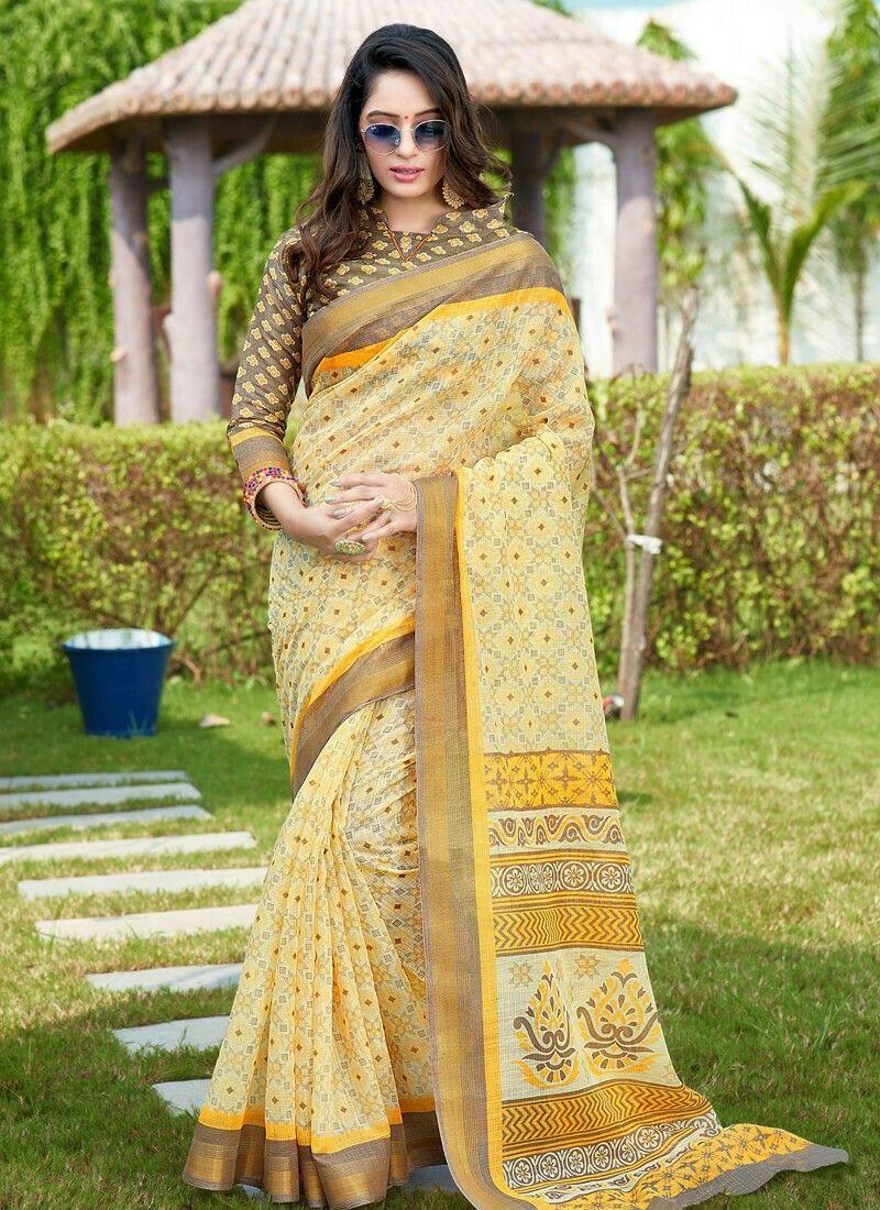 Traditional Light Yellow Wedding Cotton Saree