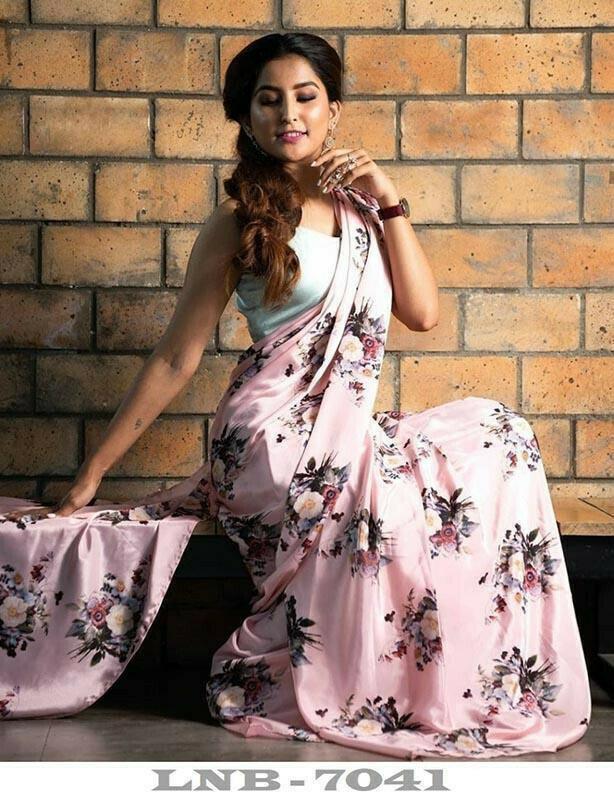 Trendy Cream Colored Partywear Japan Silk Floral Printed Saree