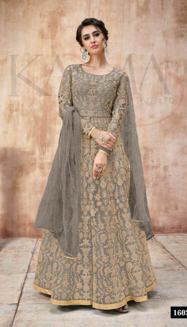 Trendy Grey Colored With Net Embroidary Semi-stitch Suit