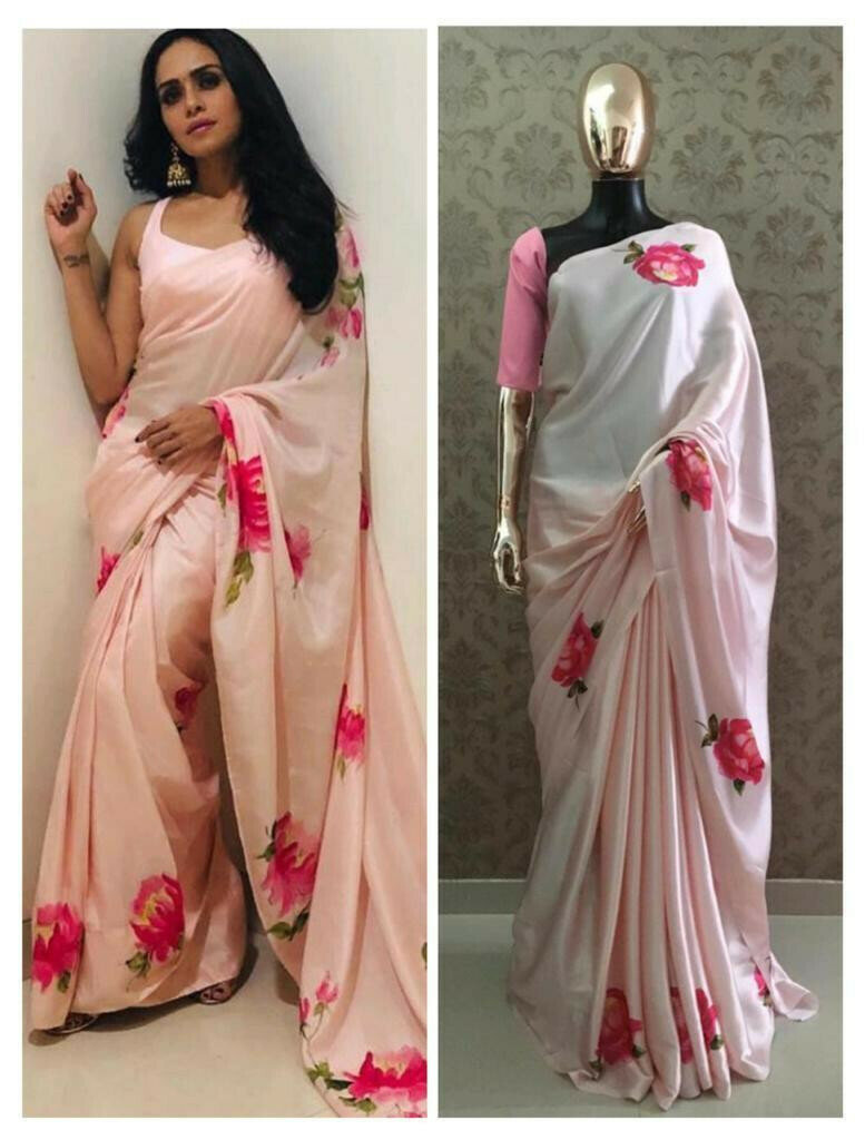 Trendy Light Pink Colored Partywear Japan Silk Floral Printed Saree