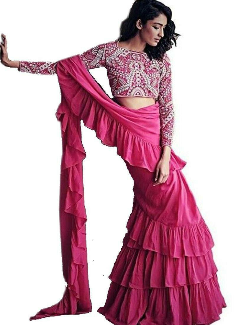 Trendy Pink Georgette Digital Printed Frill Saree