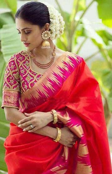 Trendy Red Color Designer zarna silk saree