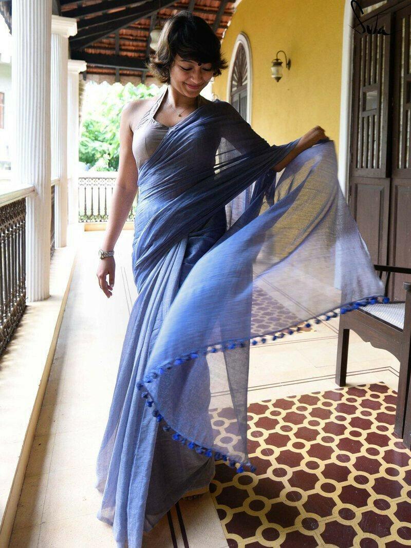 Trendy Royal Blue Colored Festive Wear Pure Linen Designer Saree For Women