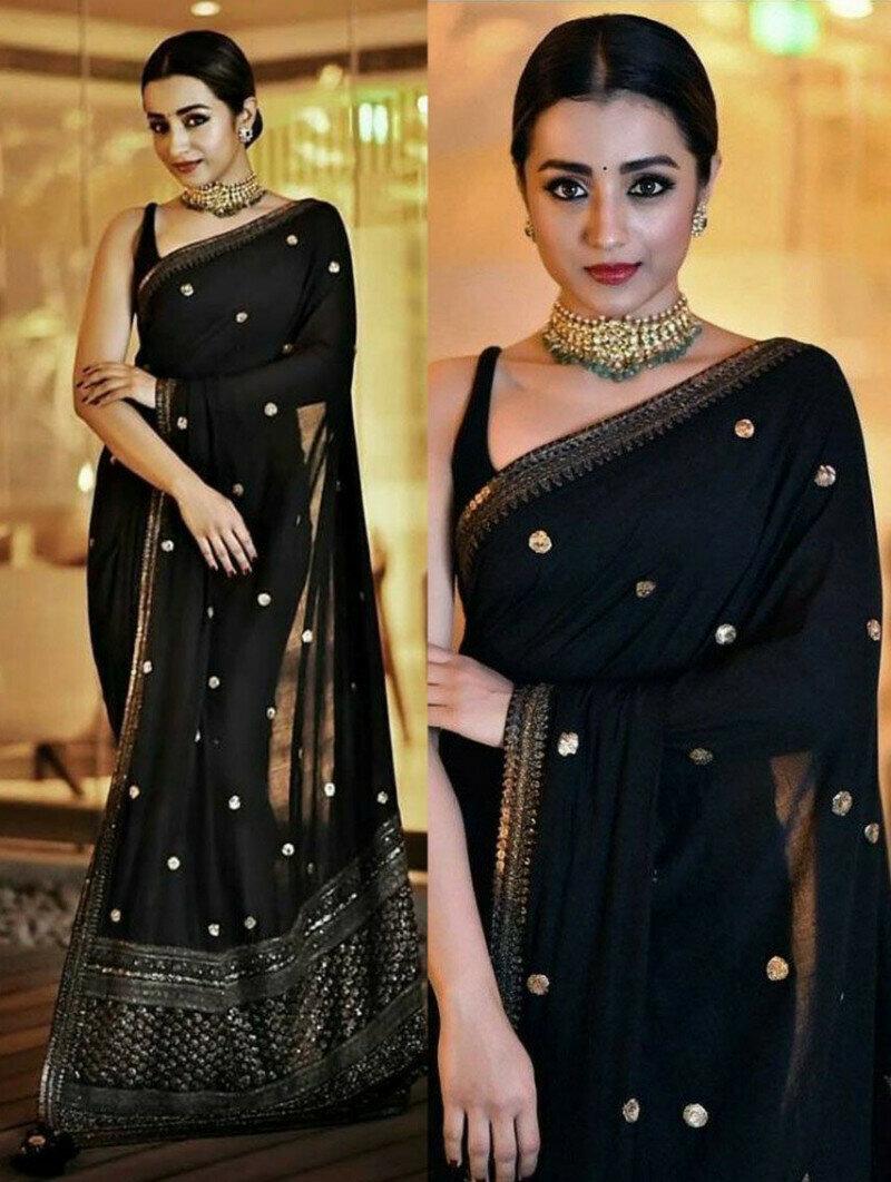 Trisha Krishnan Black Color Georgette Party Wear Saree (Black)
