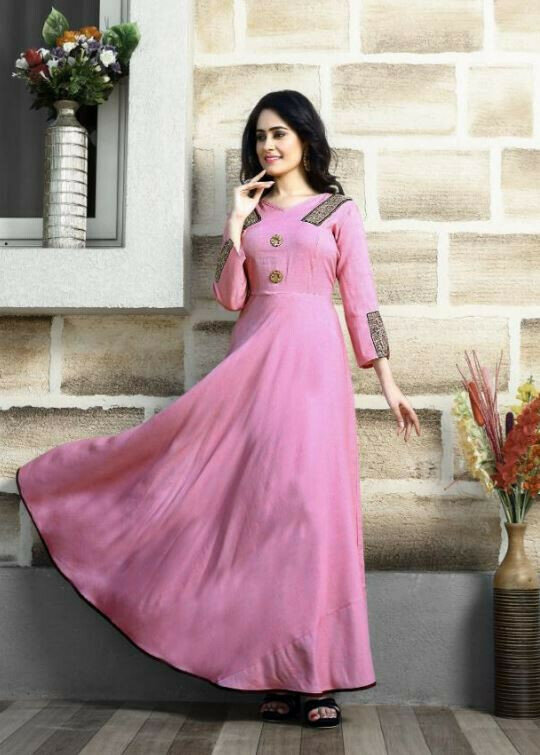 Two Tone Rayon Party Wear Pink Gown