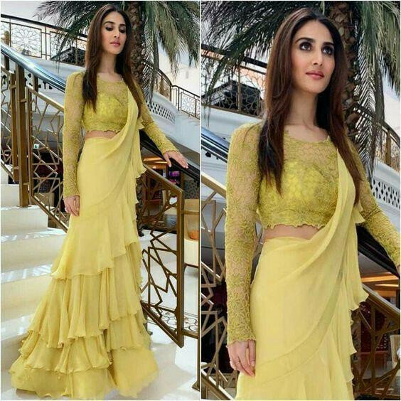 vani kapoor Bollywood Sabhaysachi goergette Embroidered yellow Saree