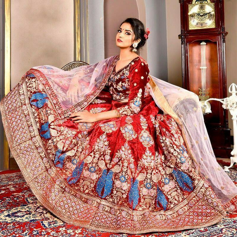 Velvet Maroon Designer Bridal Lehenga Choli