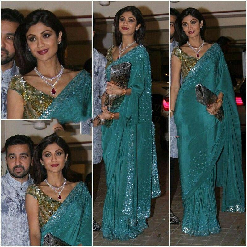 Vichitra Silk Green Shilpa Bollywood Award Function Look Saree