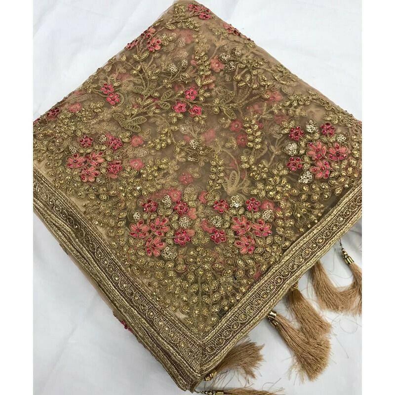 Wedding Designer Light Orange Heavy Net Embroidered Stone Work Saree
