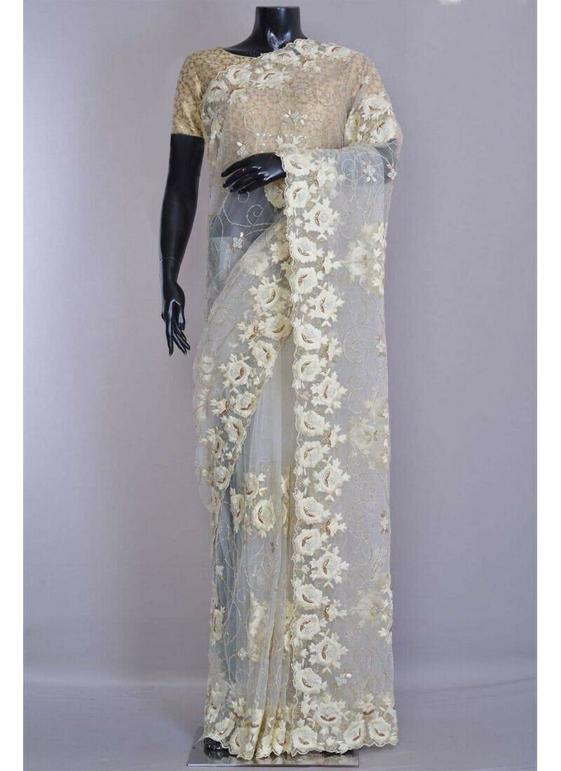 Wedding Designer Milky White Net Jal Embroidery Saree