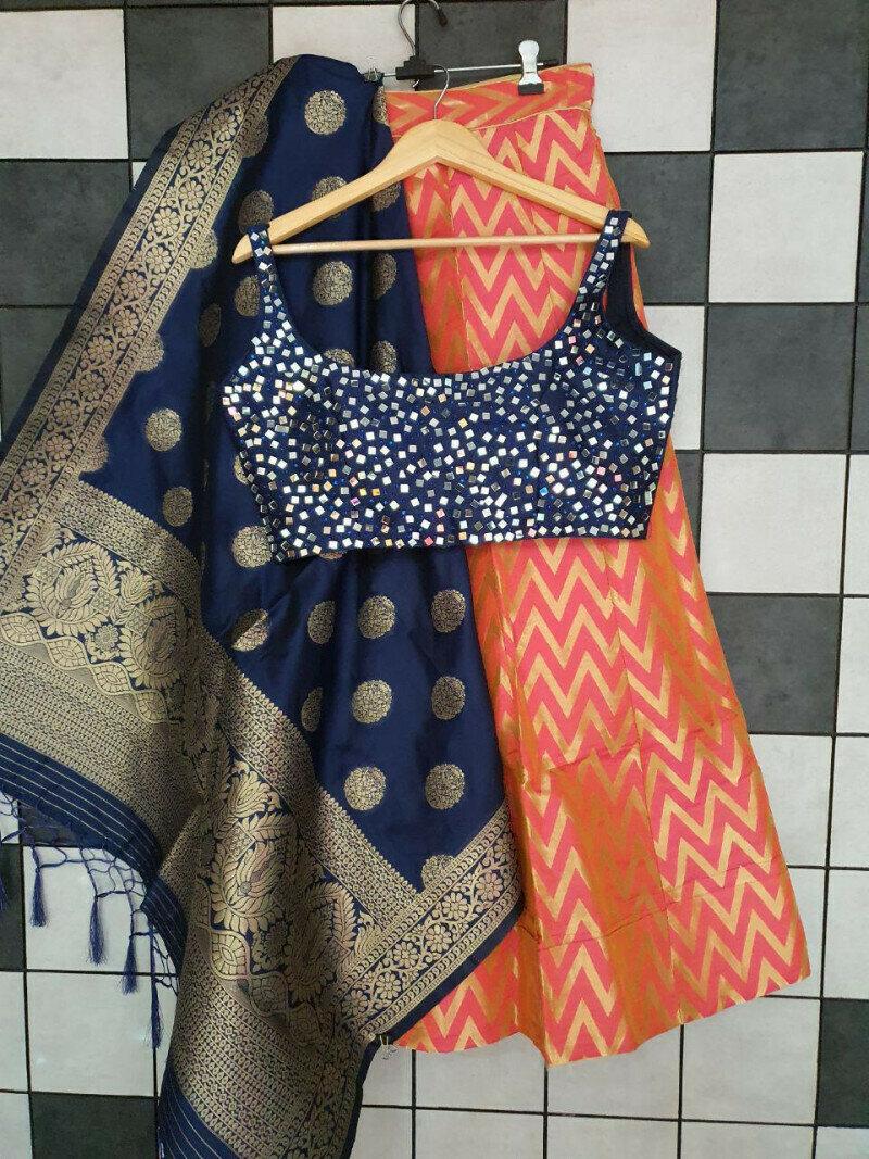 Wedding wear Banarasi Silk Readymade Blouse Lehenga Choli With Dupatta