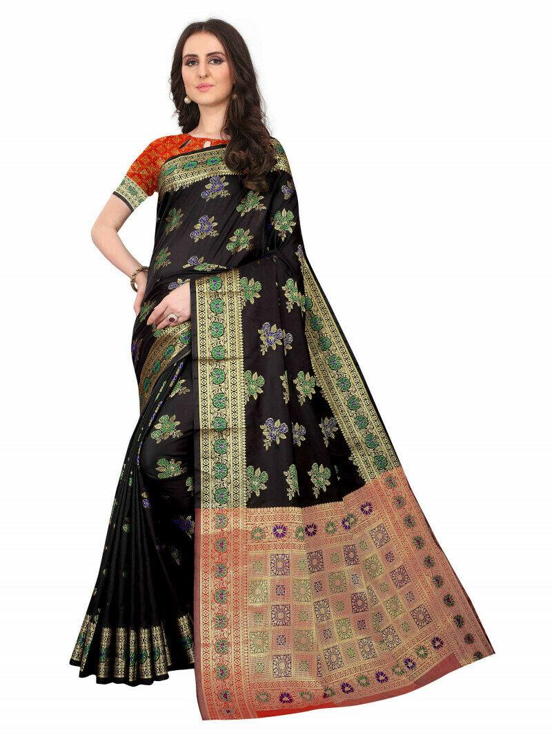 Wedding Wear Black Color Jacquard Saree
