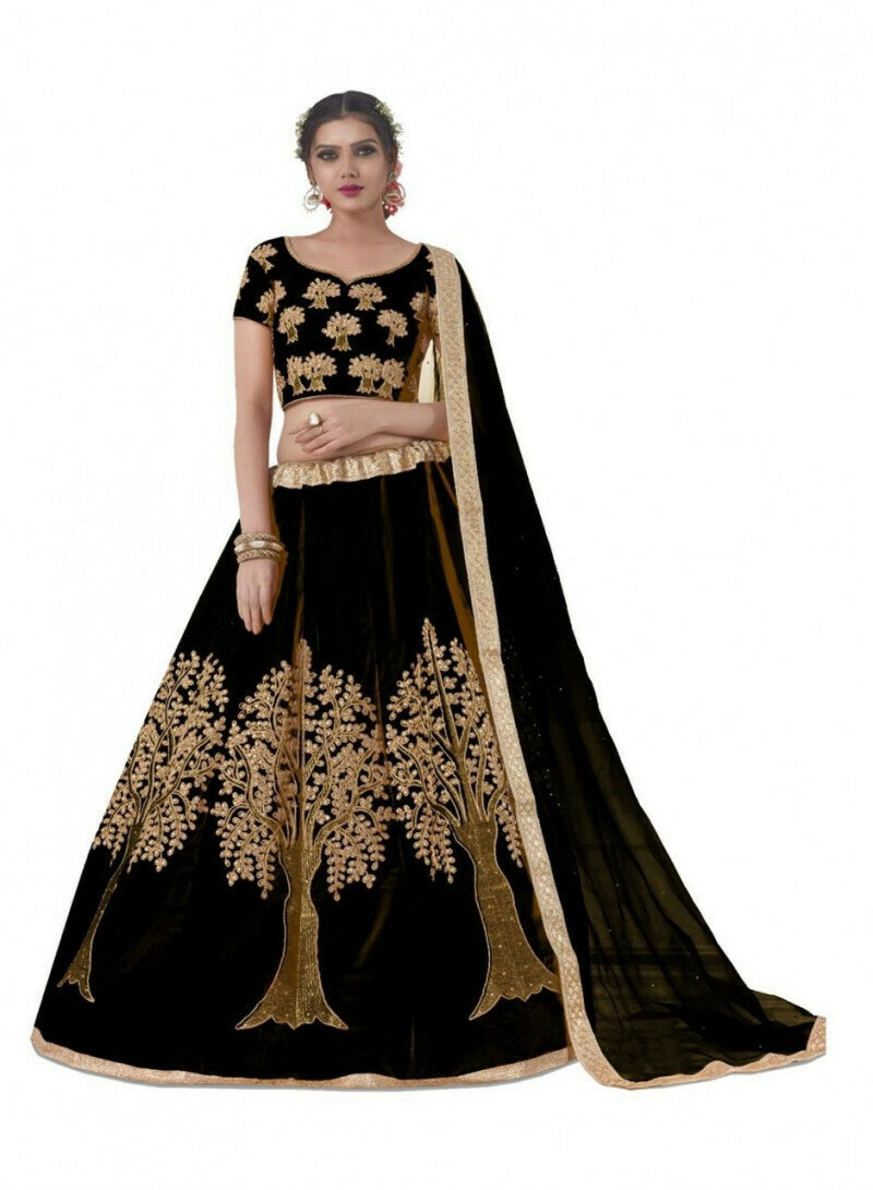 Wedding Wear Black Embroidery Work Lehenga Choli