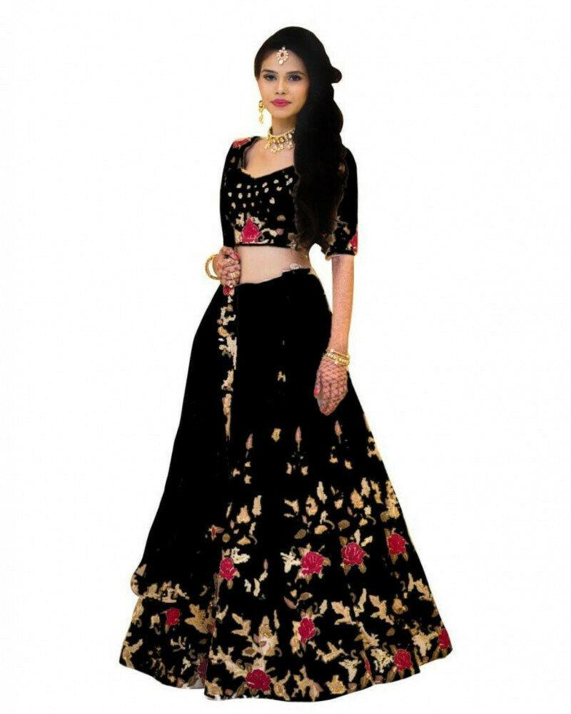 Wedding Wear Black Lehenga Choli With Low Price