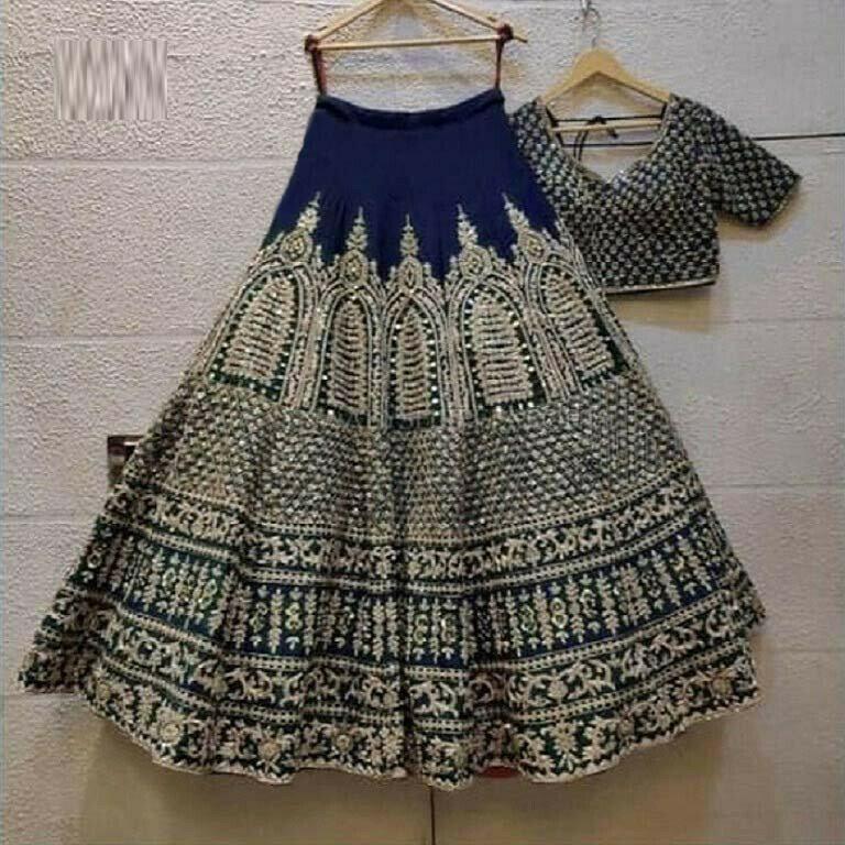 Wedding Wear Blue Color Embroidery Work Lehenga Choli