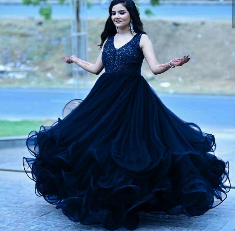 Wedding Wear Blue Color Fancy Gown