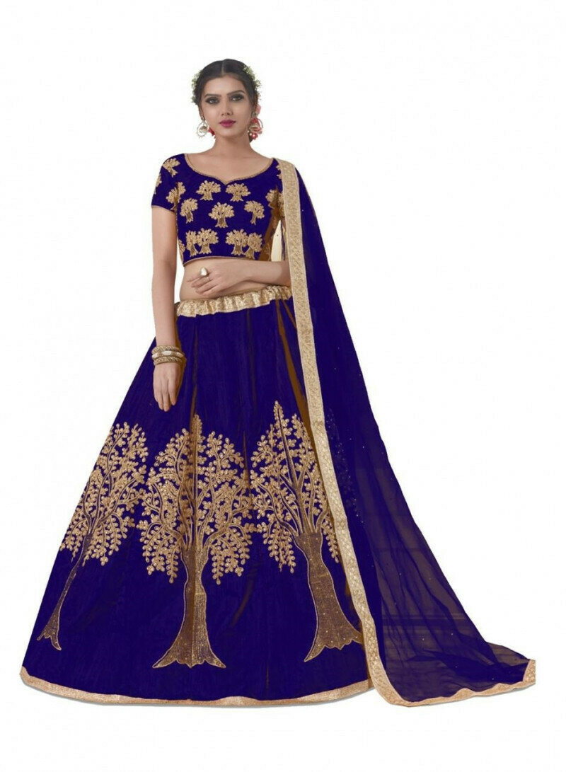 Wedding Wear Blue Embroidery Work Lehenga Choli With Dupatta
