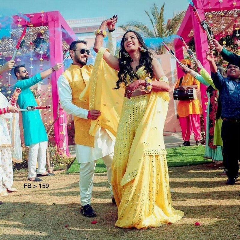 Wedding Wear Designer Yellow Color Sharara Suit