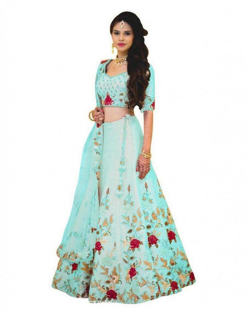 Wedding Wear Embroidered Sky Blue Lehenga Choli