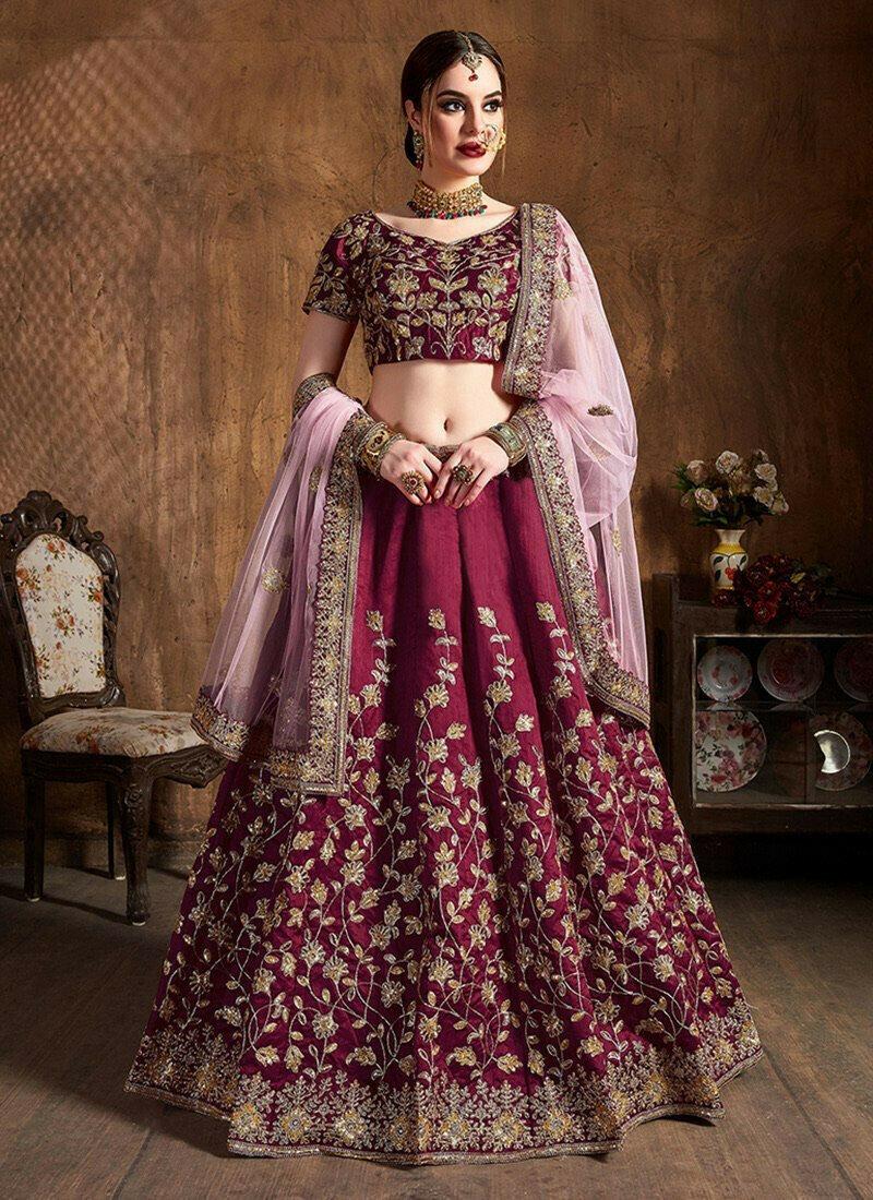 Wedding Wear Embroidery Work Silk Lehenga Cholis