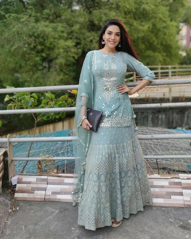 Wedding Wear Georgette Botel Green Color Sharara Suit