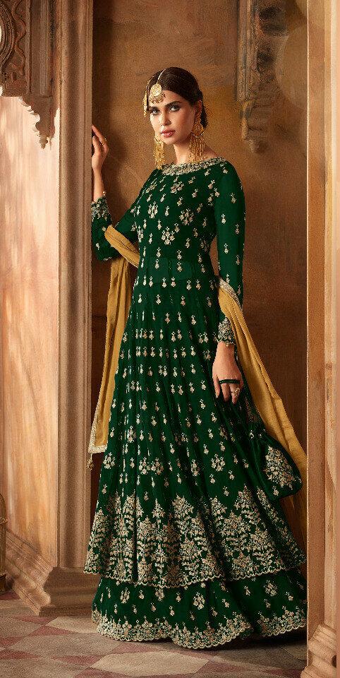 Wedding Wear Green Color Beautiful Anarkali Dress