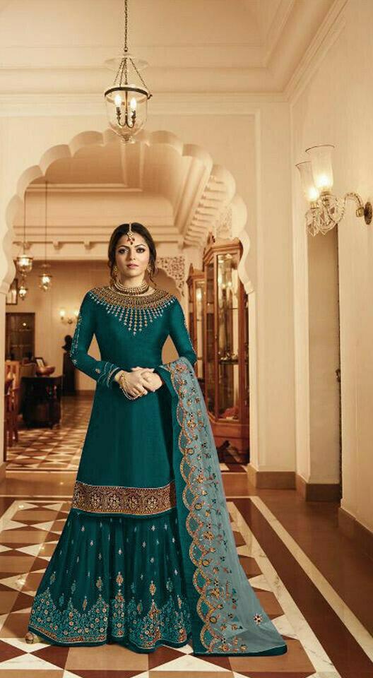 Wedding Wear Green Color Embroidery Work Anarkali Suit